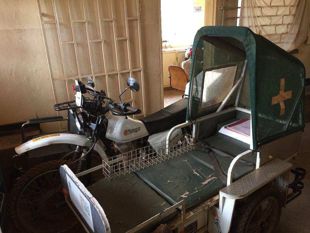 Ambulance used to take patients to Kabudula Community Hospital.