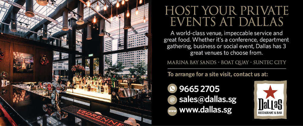 Host Your Year End Parties at Dallas  Whether you are looking for a venue for your Christmas Party, an Year-End D&D event or a birthday celebration, Dallas has it covered. With impeccable food and great service, you can look forward to an memorable event. Speak to our sales team at 9665 2705 or email sales@dallas.sg.