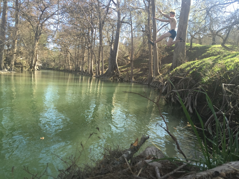 I set my iPhone on timer, and jumped off the bank. You get a sense of scale with this shot!