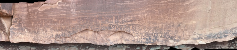 Petroglyphs along a high ledge          Camera:  iPhone 6