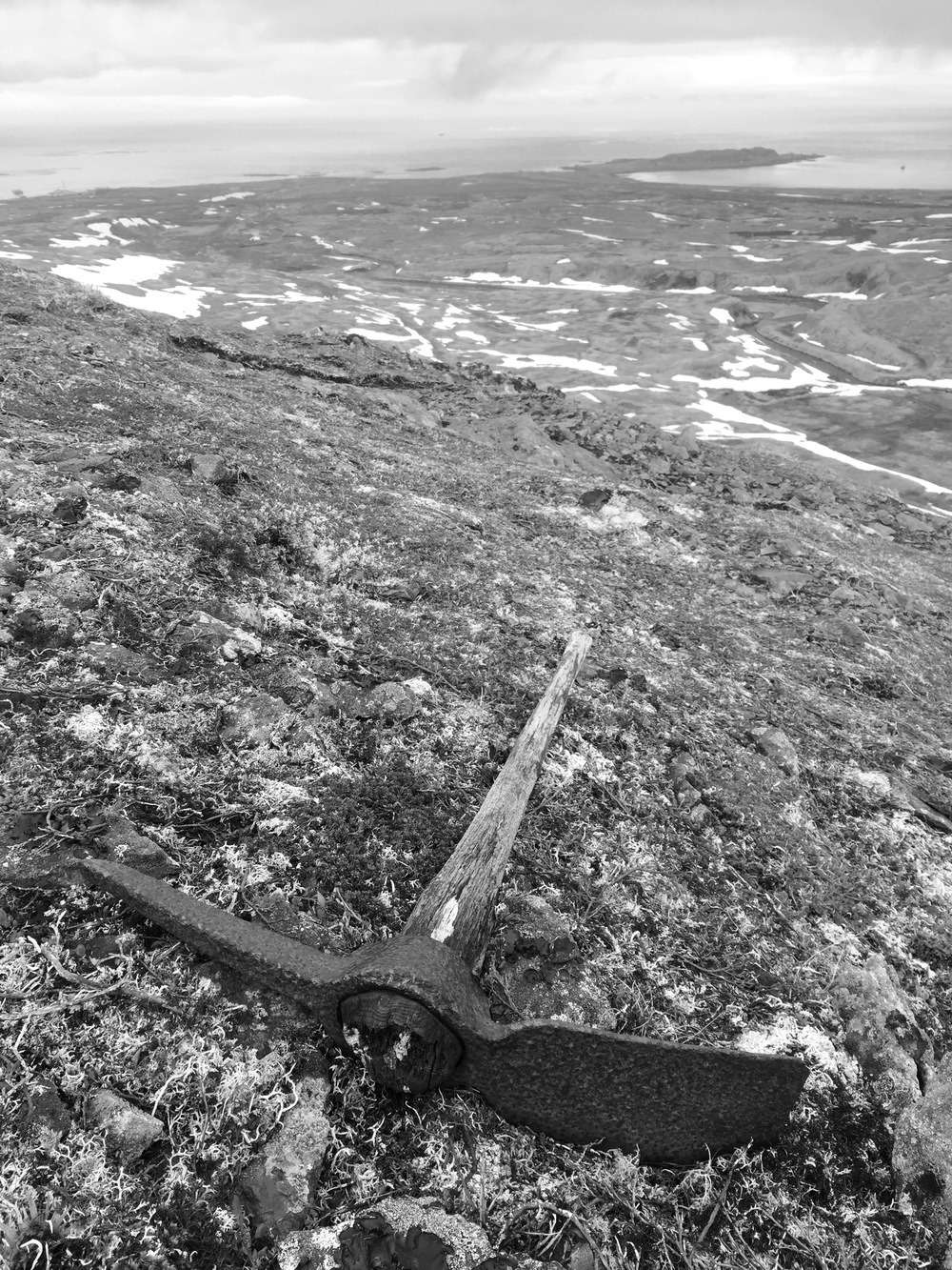 A relic of days gone by-- this pick axe was likely used to dig trenches and ditches on the mountain hillsides