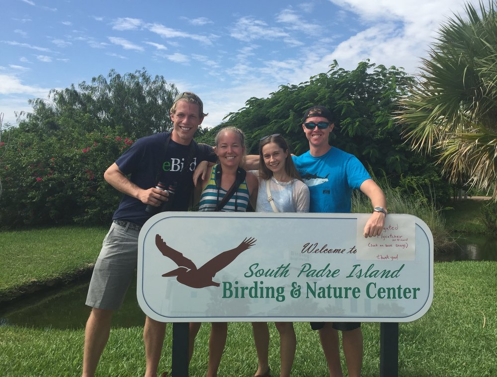 The birding crew celebrates a new life bird for all of us! Birding with friends is the best.