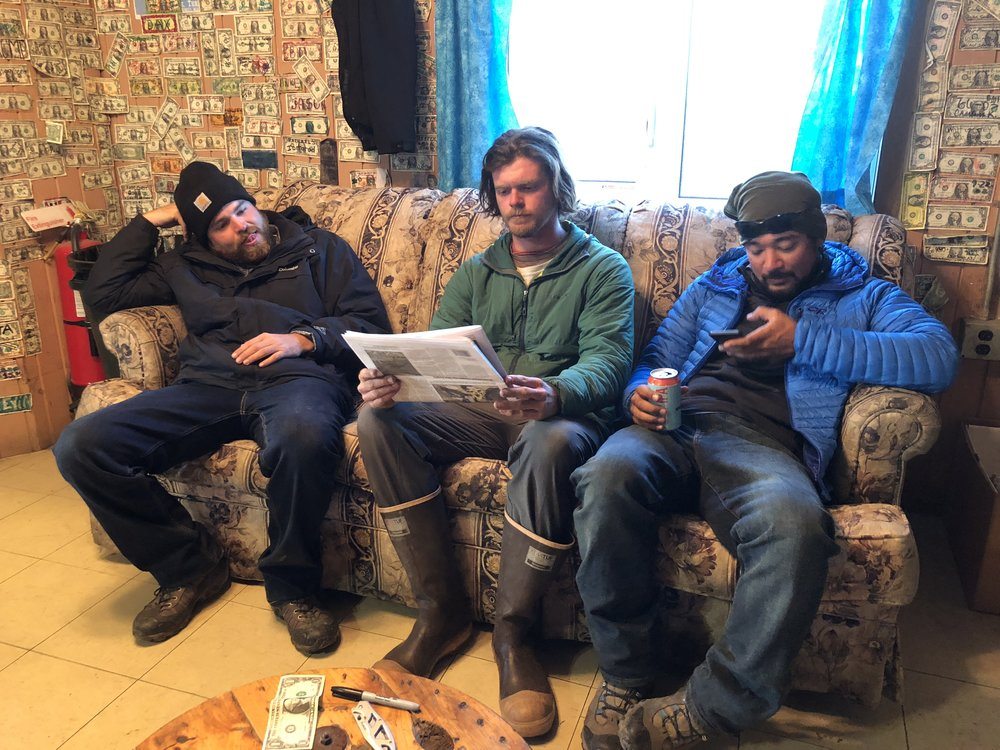 The guys hanging out at the Safety Roadhouse- the last checkpoint of the Iditarod sled dog race