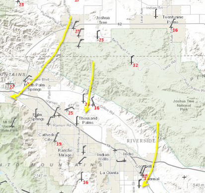 Wind gusts (in red) at 2:30p Sunday, showing increasingly breezy conditions funneling through the canyons of the Little San Bernardino Mountains into parts of the Coachella Valley.
