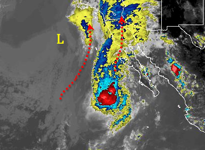 Satellite imagery around 3:30p Monday shows a low pressure southwest of San Diego beginning to pull the moisture from Hurricane Paine up into Southern California.