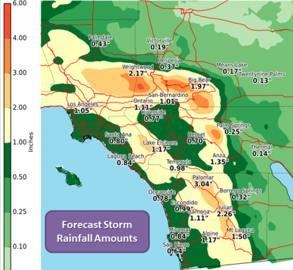 National Weather Service forecast storm totals show most rainfall to the west of the deserts.