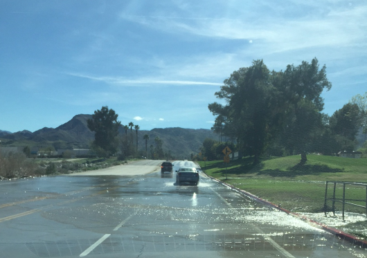 Cathedral Canyon Road has been wet lately with runoff.