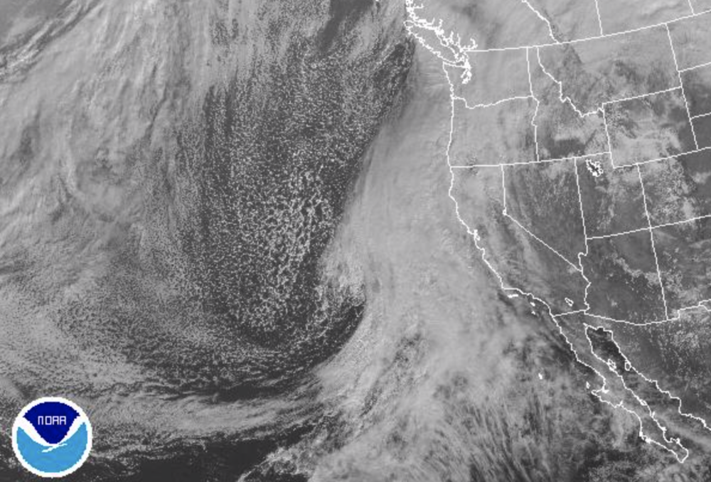 Here's an image of the enormous storm forming off the coast of California as of 11am Friday (image courtesy of NOAA).
