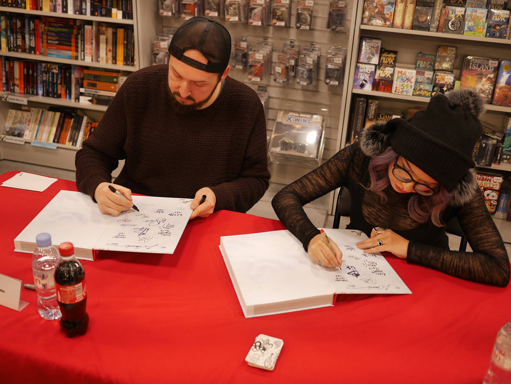 Zoetica Ebb and Jason Miller signing The Thing Artbook at Forbidden Planet