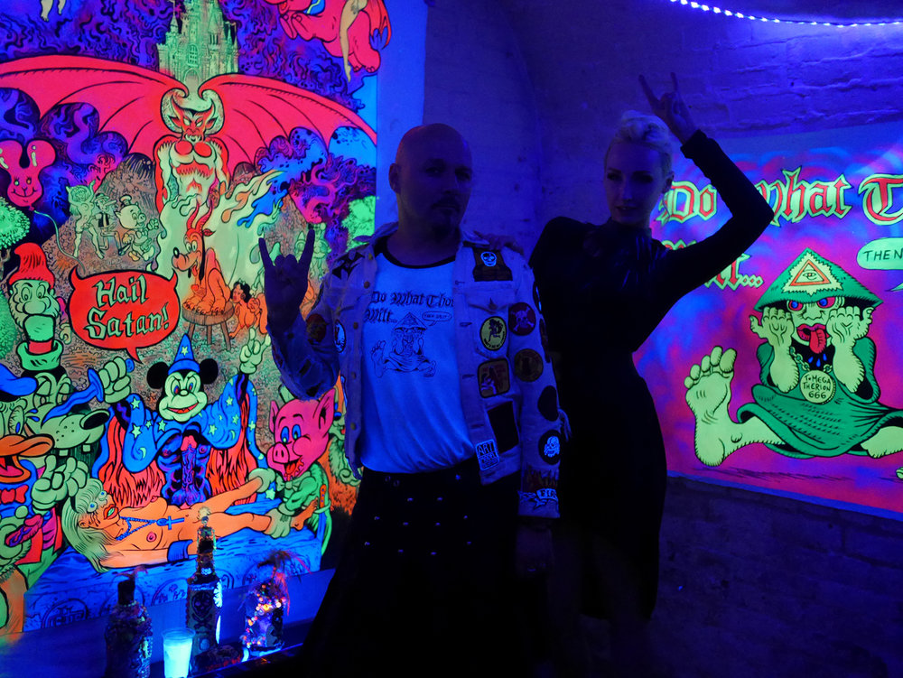 "Jason Atomic and Manko inside Jason's ""Black Acid"" installation"