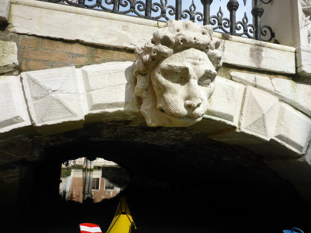 Kayaking, lion head on low bridge.JPG