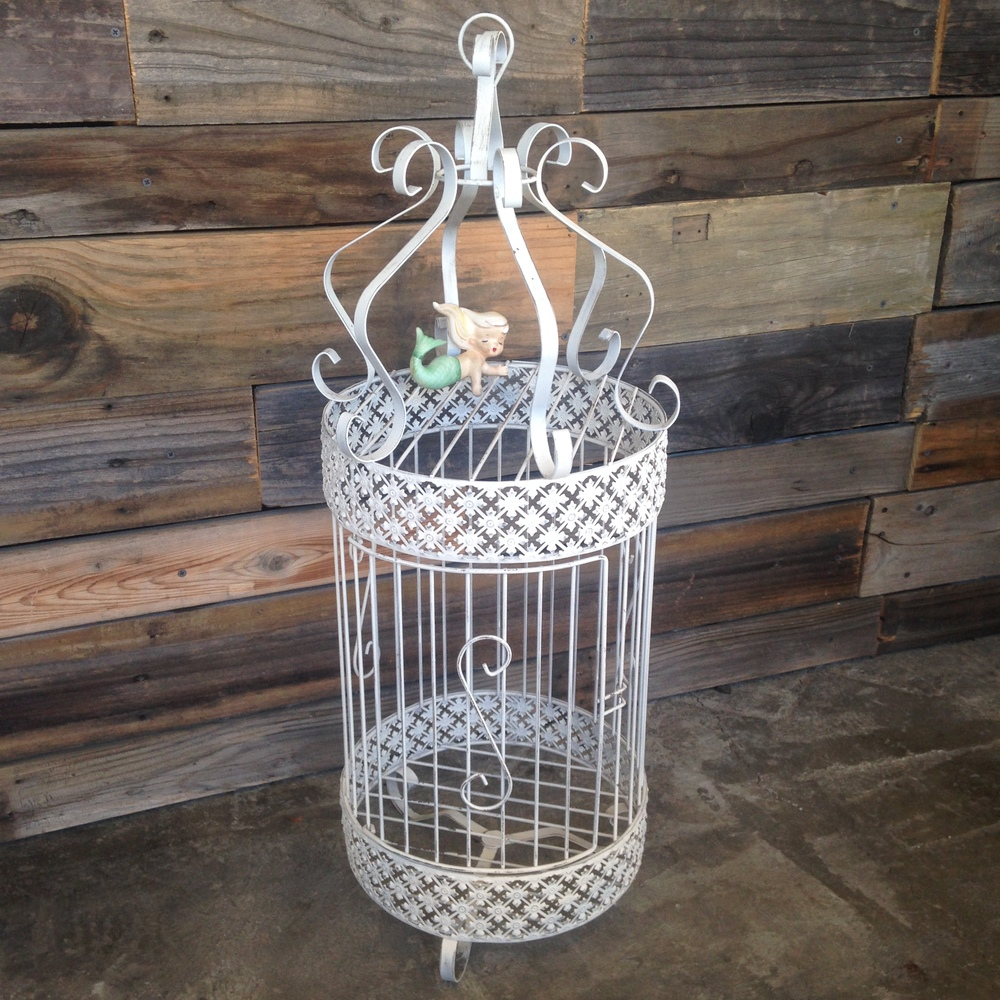 Tall White Birdcage $15