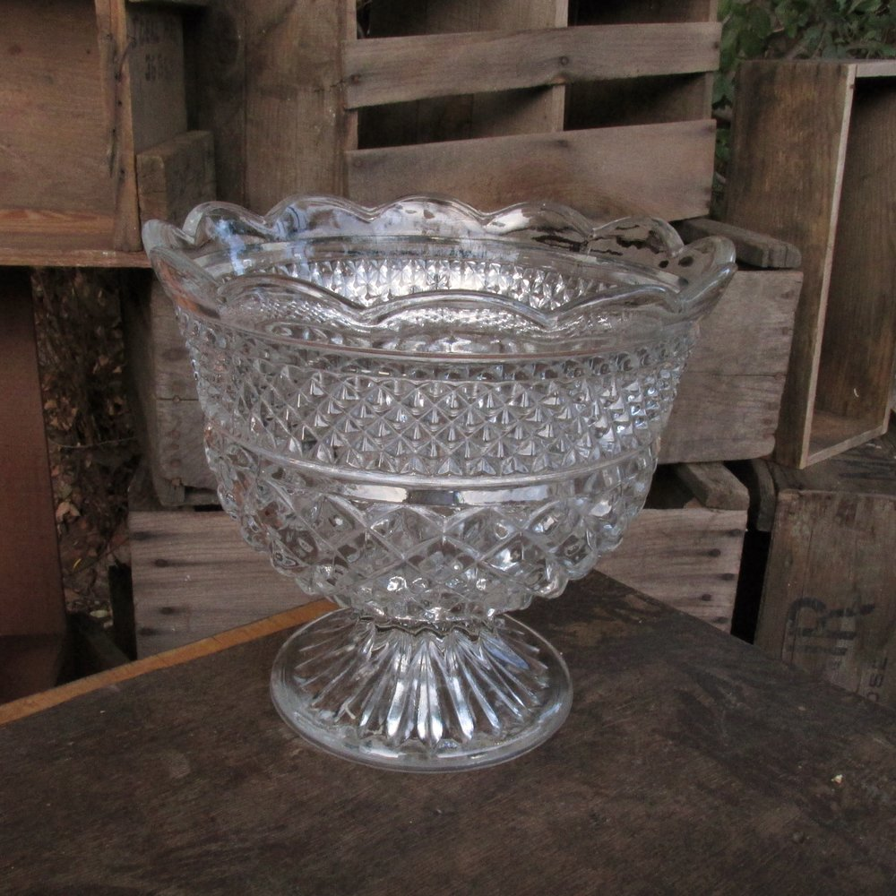 Cut Glass Footed Bowl $10