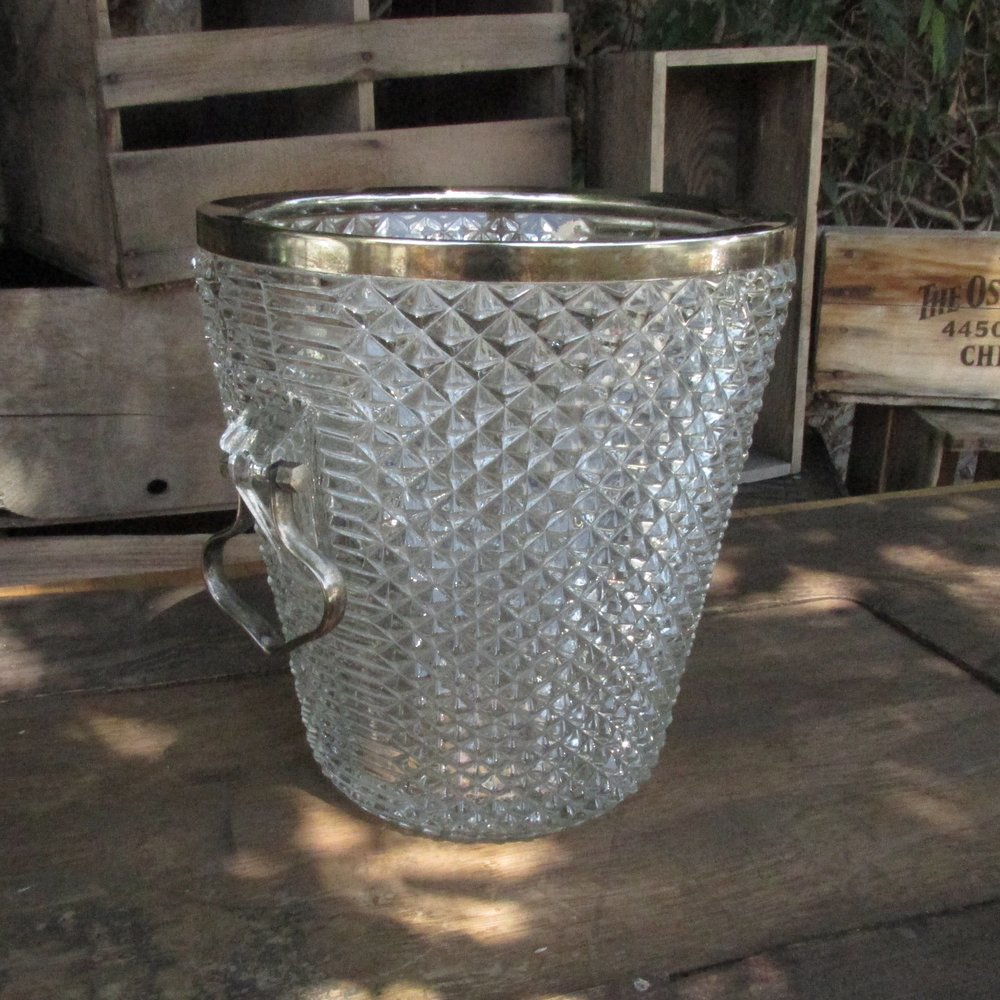 Cut Glass Ice Bucket $12