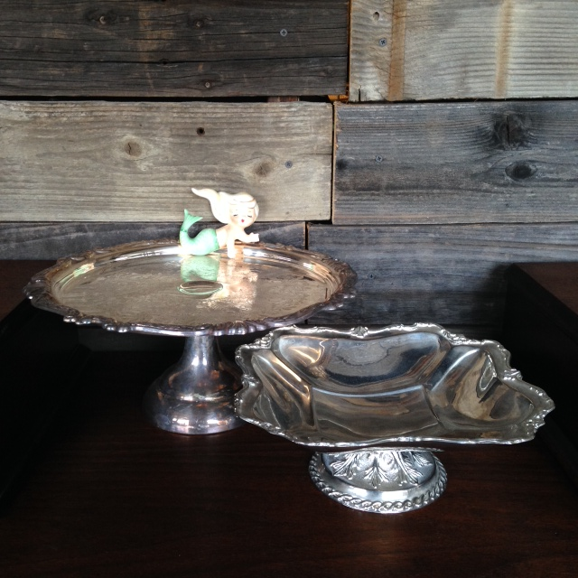 Silver Cake Stands $10