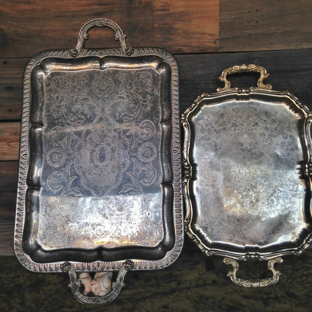 Large Silver Platters $5