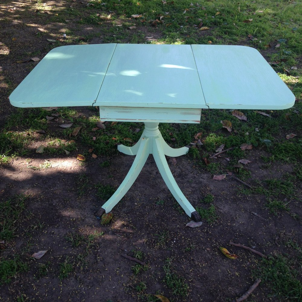 Mint Green Drop Leaf Table $25