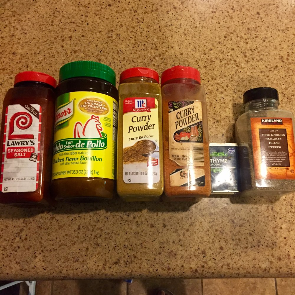 seasoning salt, chicken bullion, curry powder, african pepper, thyme, black pepper