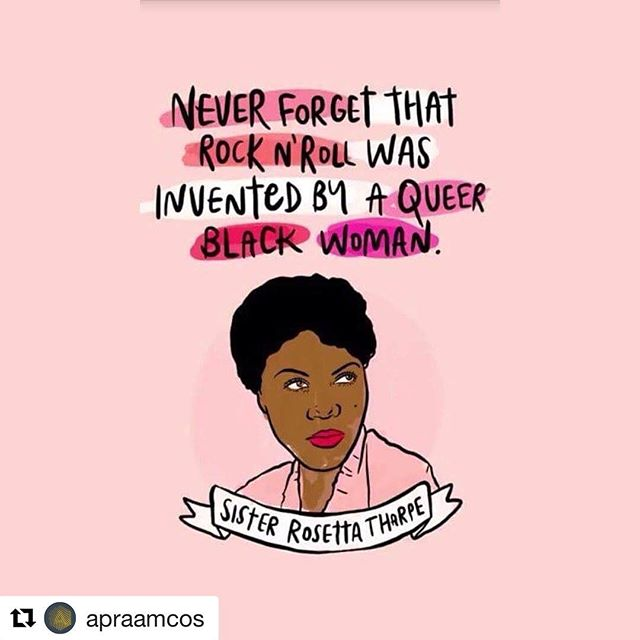 """#Repost @apraamcos with @get_repost ・・・ #SisterRosettaTharpe (1915-1973) is often referred to as the """"original soul sister"""" and """"the mother of rock n roll"""" for too many good reasons to display at once. Among others, Tharpe was one of the very first recording guitarists to incorporate heavy distortion on her tracks. Not only did Tharpe influence many now more recognizable names such as #ElvisPresley, #ChuckBerry, #JohnnyCash, #BobDylan and #EricClapton but her unique style and ability to merge genres gave her an instrumental role in the development of popular music. In 1945, Tharpe's single """"Strange Things Happening Every Day"""" was the first Gospel song to cross into popular music—reaching #2 on the billabord charts.  On December 13, 2017, Tharpe was chosen for induction into the #RockandRoll #HallofFame as an Early Influence. 🤘🏽 [Artwork: fayeorlove.com]"""