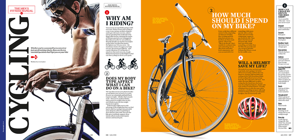 'Men's Fitness Manual - Cycling'  written for the July issue of  Men's Fitness .