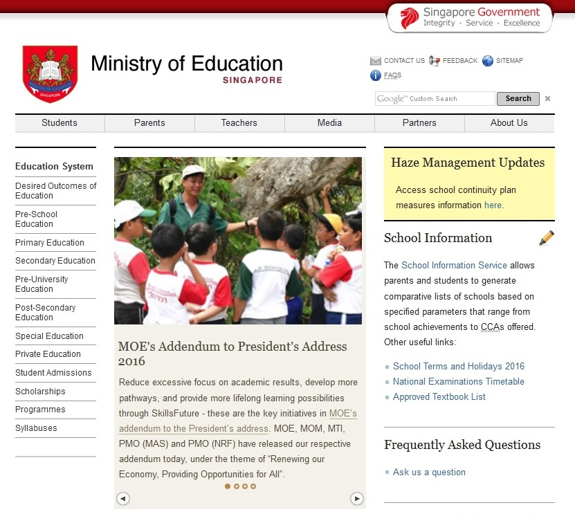 Singapore Ministry of Education MOE website thumbnail