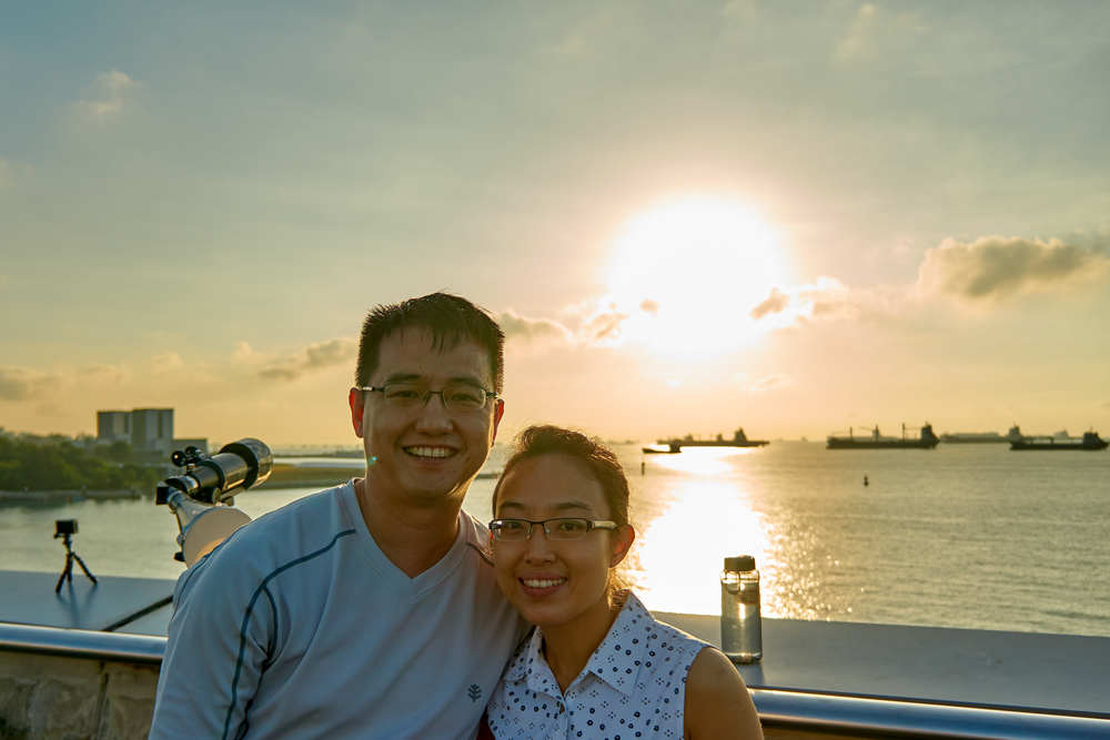 Pan Zheng Tao and Leck Meng Choo at the Marina Barrage during the solar eclipse