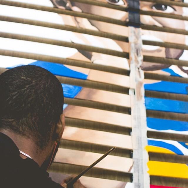 11.04.14 - W.I.P. Fragments de Joie IV, Superman    #painting #art #acrylique  (à Prép'Art)
