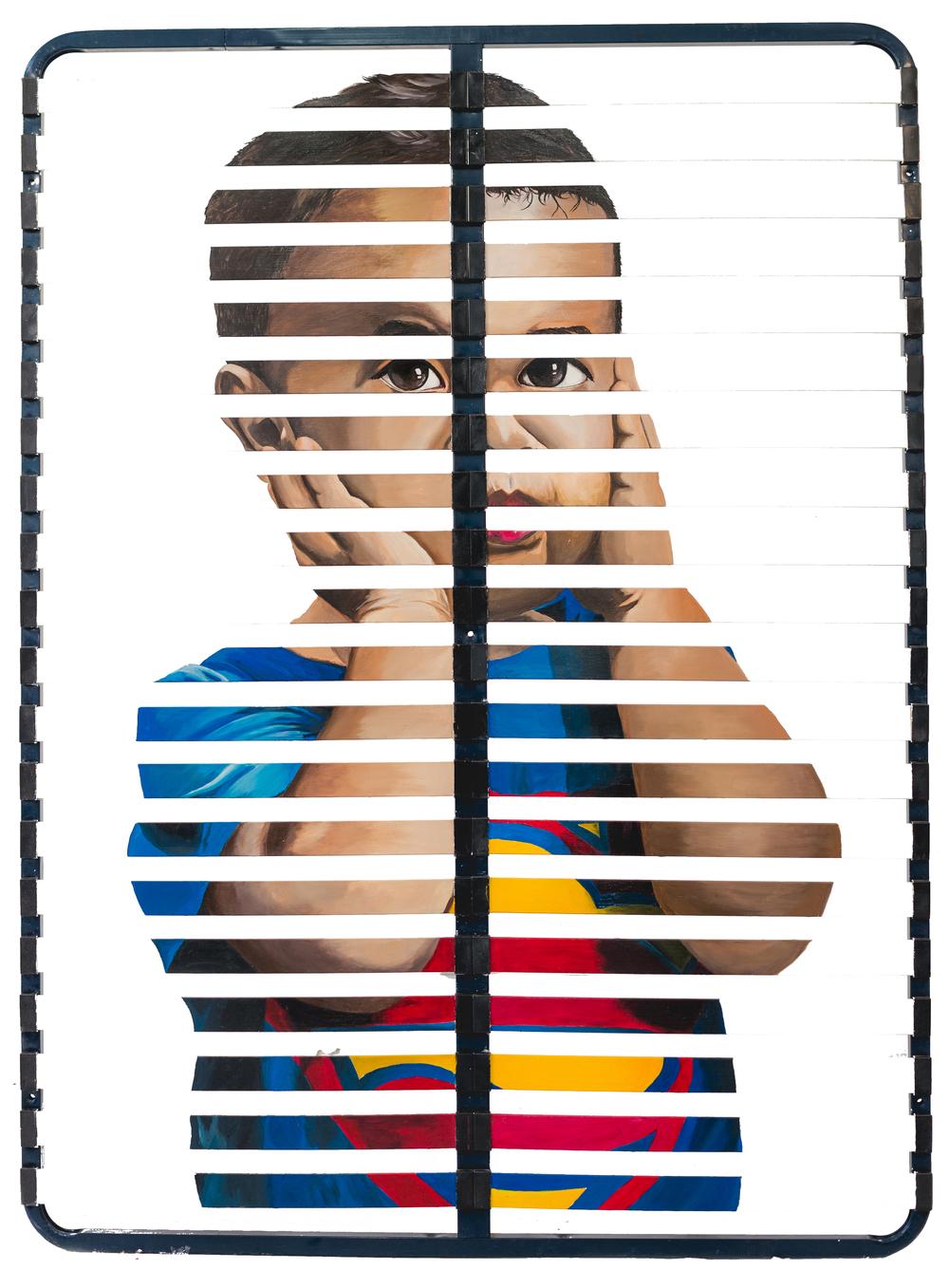 Fragments de Joie Vol.VI - Superman Acrylique sur sommier, 160 x 200 cm.