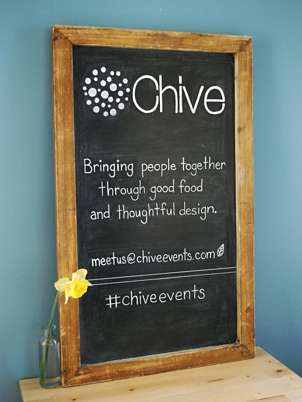 Corporate Branding | Hand-lettered Chalkboard for Chive Events