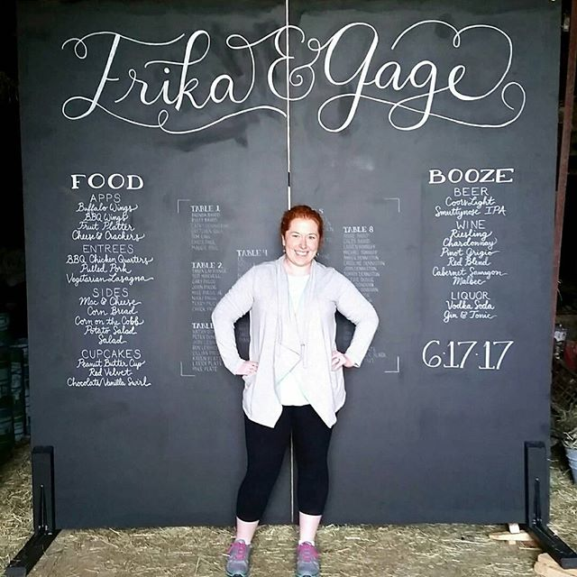 My biggest project to date: 8'x8' of hand-lettered love. Congratulations Erika & Gage! #thinkbig