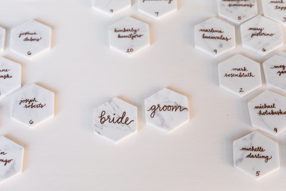 Bride and groom place card tiles
