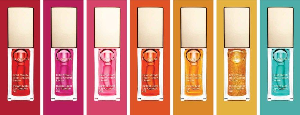 Dans l'ordre: 03 Red Berry, 02 Raspberry, 04 Candy, 05 Tangerine, 01 Honey, 07 Honey Glam, 06 Mint