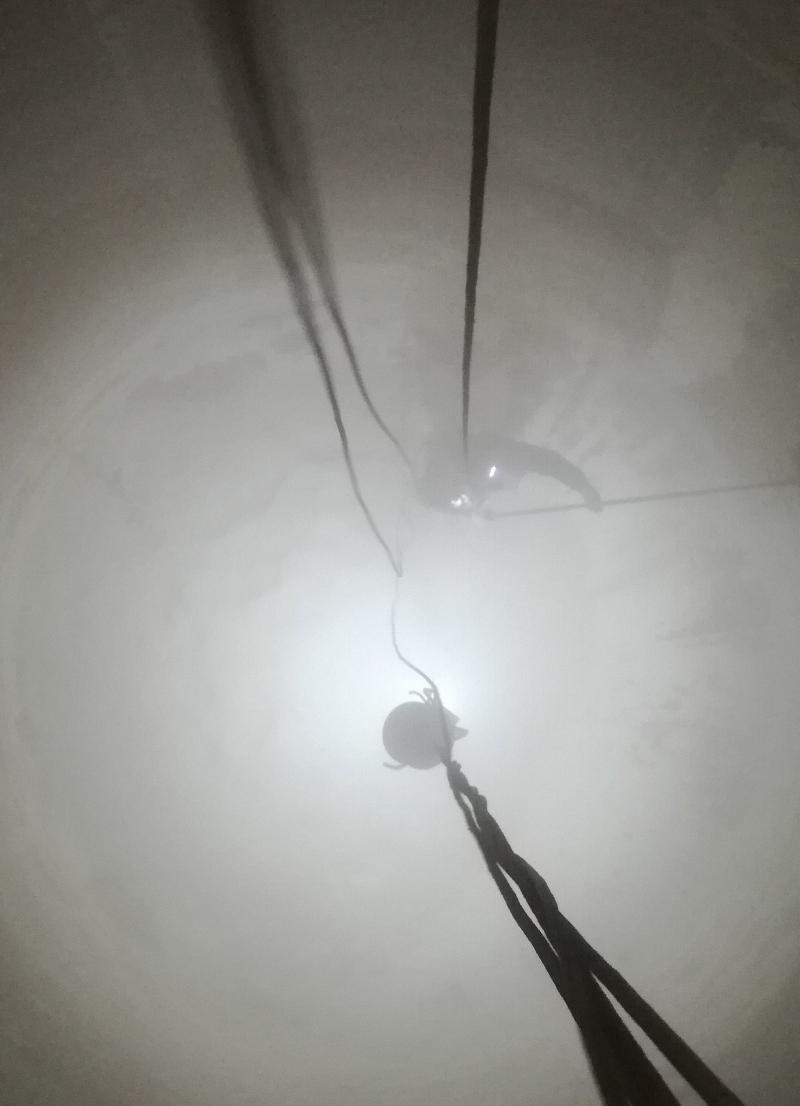 Alpinista - Czyszczenie zbiornika na mączkę wapienną.