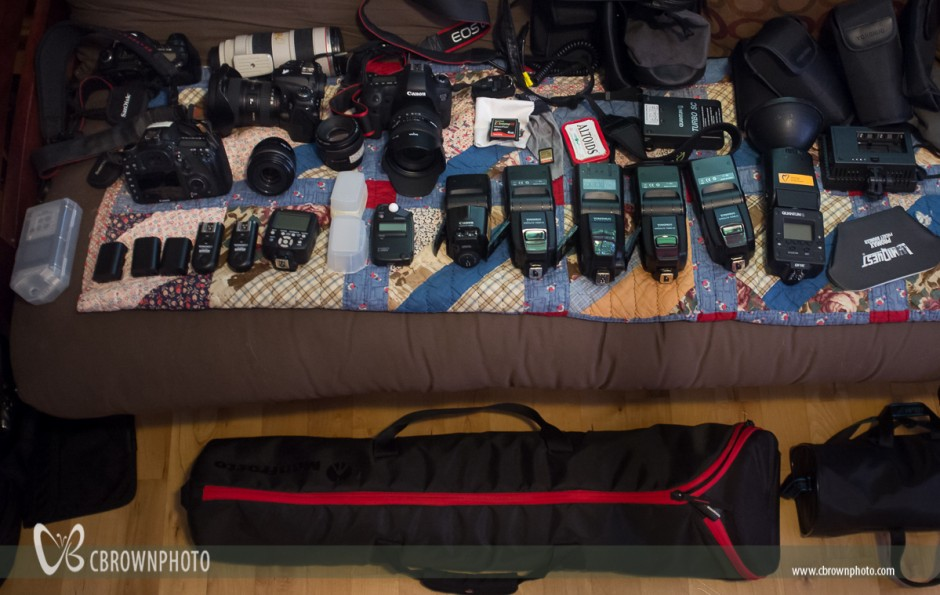 Camera gear for a wedding or bar mitzvah shoot
