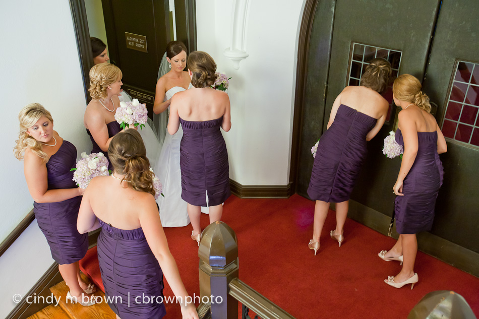Bridesmaids waiting for ceremony to begin