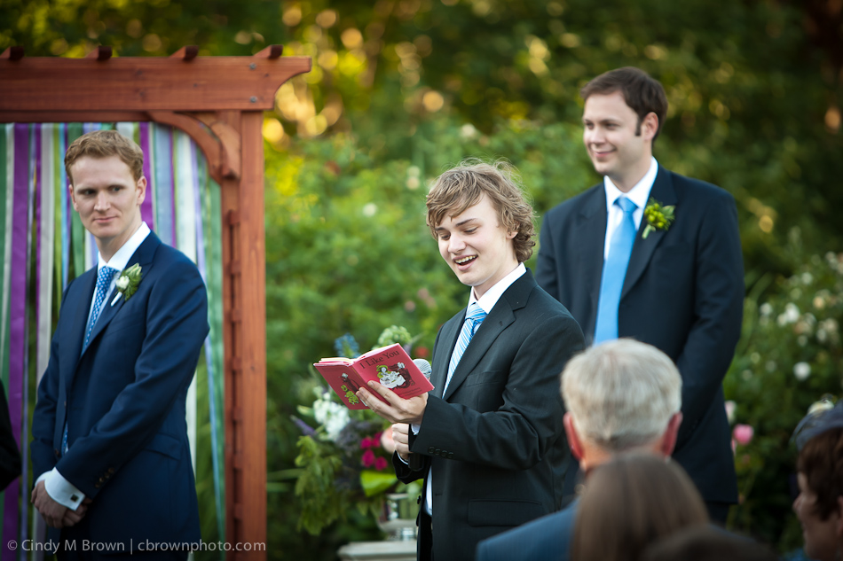 Brother of Brides Reads at Wedding