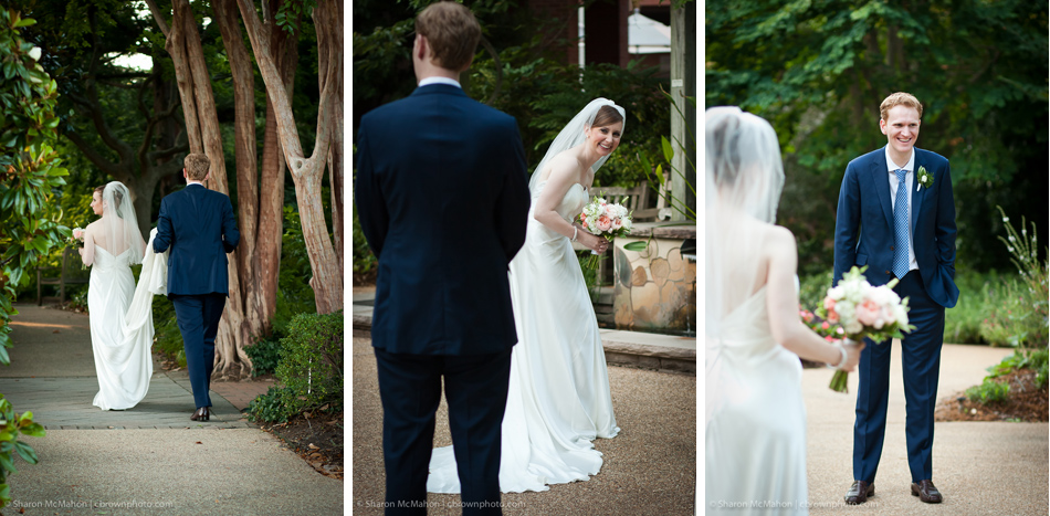 Bride and Groom at Botanical Gardens Wedding