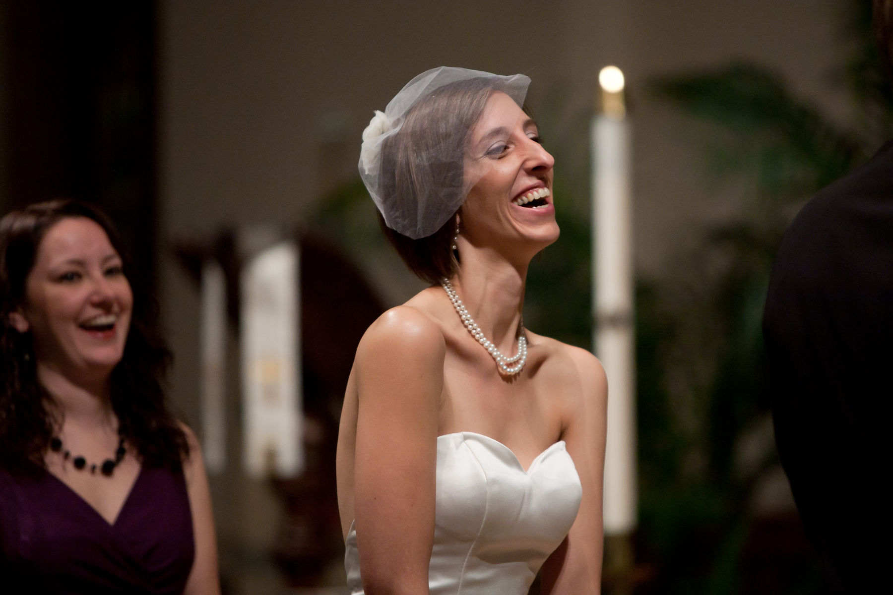 Bride at altar at Grace UMC | photo by Atlanta Wedding Photojournalist