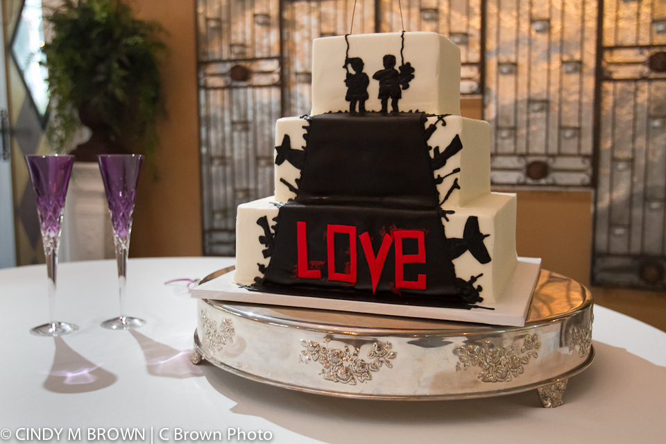 Wedding photograph of bride's cake