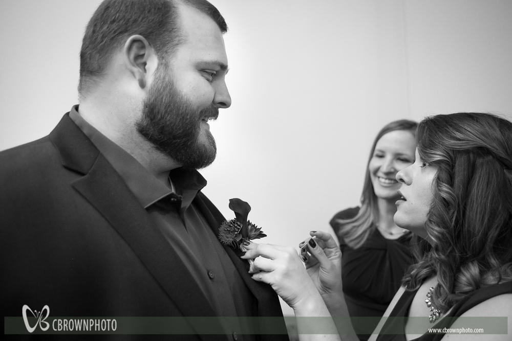 Bridesmaid threatens groom.