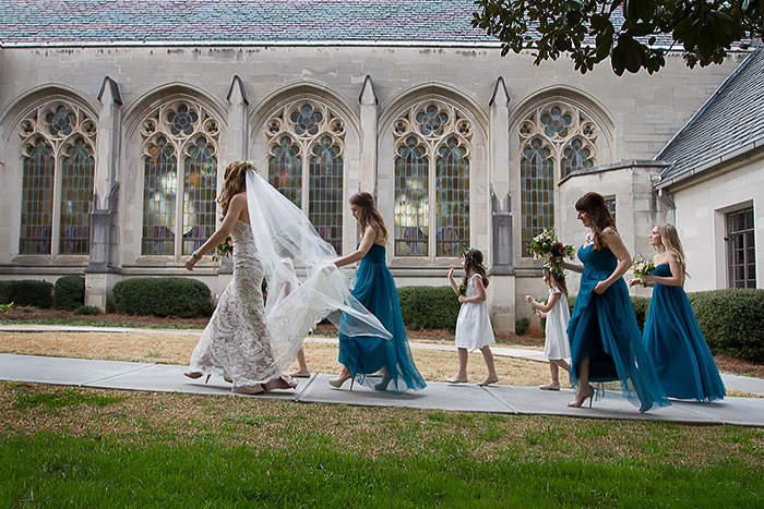 Bride and Bridesmaids walking to the ceremony.