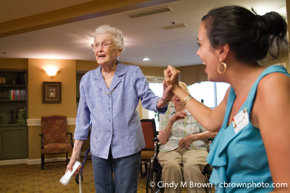 Mom learned to play Wii bowling after moving into a memory care facility in Decatur.