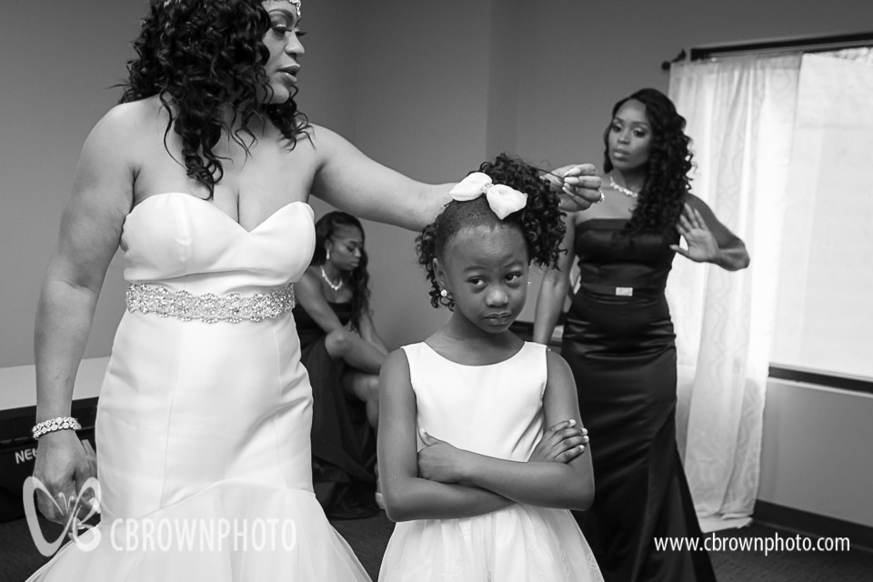 Flower girl getting ready.