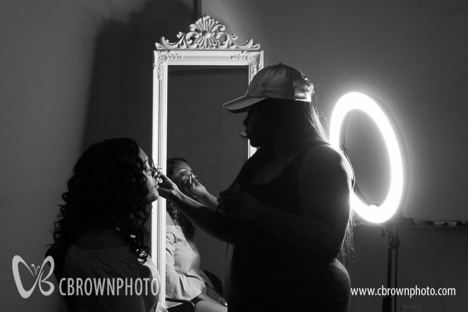 Bride with make up artist.