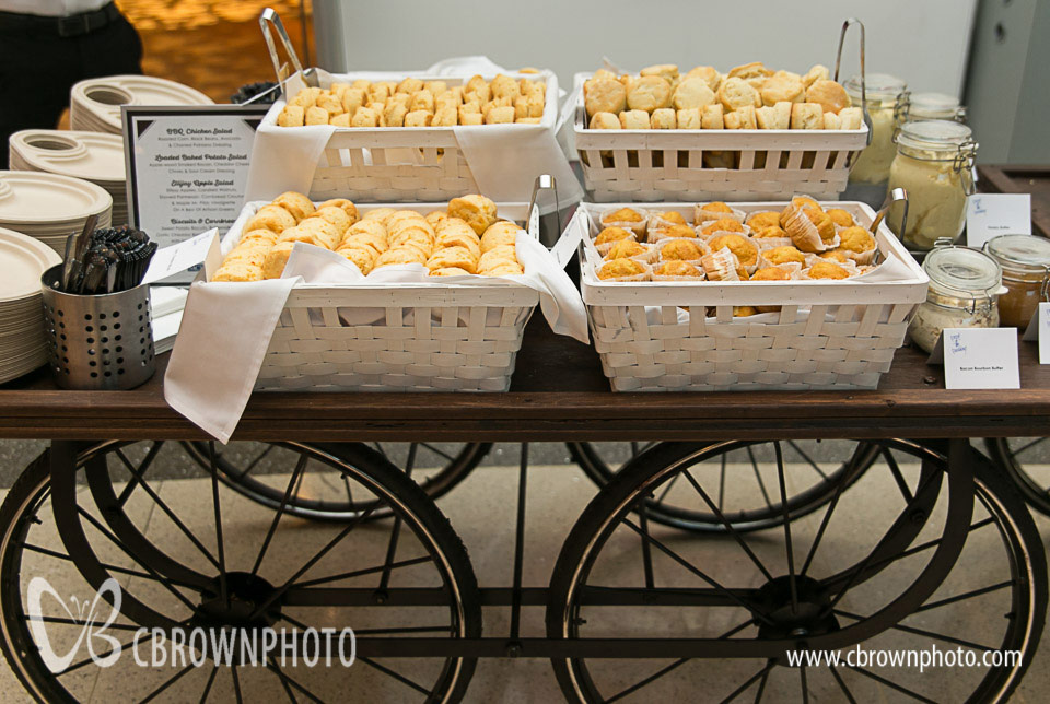 Looking for some down-home Southern cooking taken to the next level? You couldn't find anything better than this Proof of the Pudding Biscuit Station. It included sweet potato biscuits, garlic cheddar biscuits, buttermilk biscuits, and cornbread muffins.