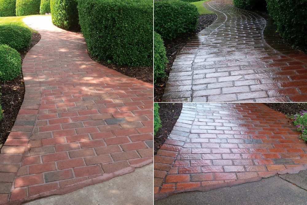 Brick Paver Walkway Before, During & After Cleaning