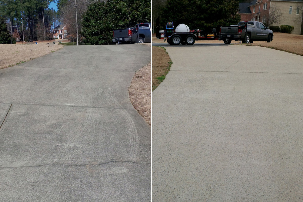 Concrete Driveway Cleaning Before & After