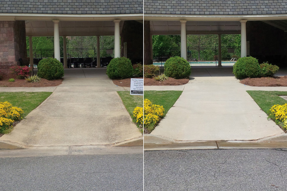 Concrete Walkway Cleaning Before & After