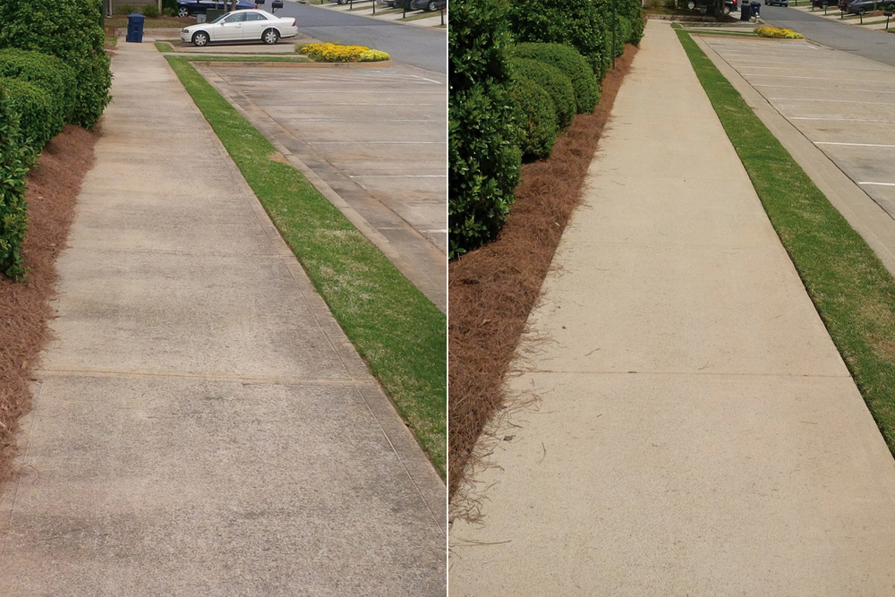 Concrete Sidewalk Cleaning Before & After