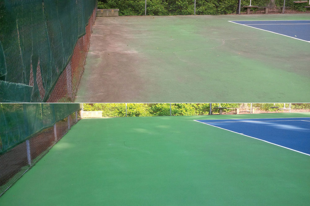 Tennis Court Cleaning Before & After